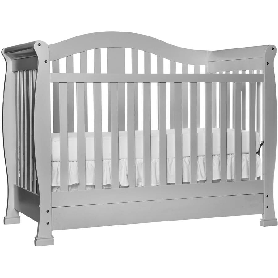 Beau Addison 5 In 1 Convertible Crib With Storage Drawer, Gray