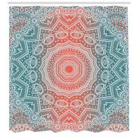 Coral And Teal Shower Curtain Modern Tribal Mandala Tibetan Healing Motif With Floral Geometric Ombre