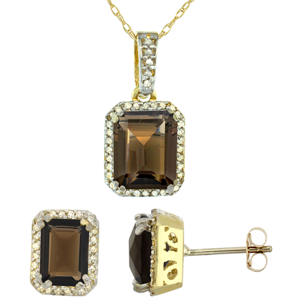 10K Yellow Gold Natural Octagon Smoky Topaz Earrings & Pendant Set Diamond Accents by WorldJewels
