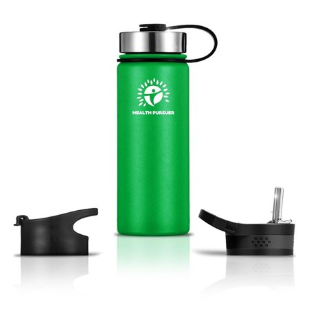 Stainless Steel Water Bottle/Thermos:18-64 oz 8 colors Double Wall Vacuum Insulated:Wide Mouth Metal Travel Tumbler:Heavy Duty Reusable BPA Free Twist Lid Bottle for Hot/Cold Liquid: Bonus-2 Lids (Heavy Wall Filtering Flasks)