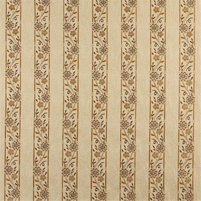Designer Fabrics K0013E 54 in. Wide Beige, Gold, Brown And Ivory Embroidered, Striped, Floral Brocade, Upholstery And Window Treatments Fabric