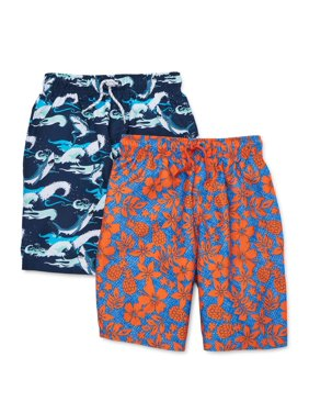Wonder Nation Boys 4-18 & Husky Swim Trunk Shorts, 2-Pack