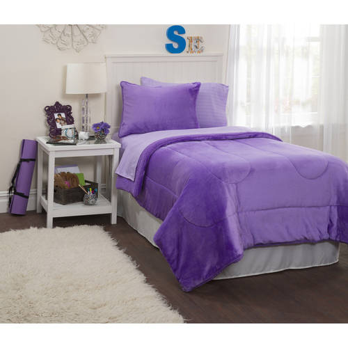 Idea Nuova Latitude Lavender Royal Plush Reverse To Sherpa Bed in a Bag Comforter Set