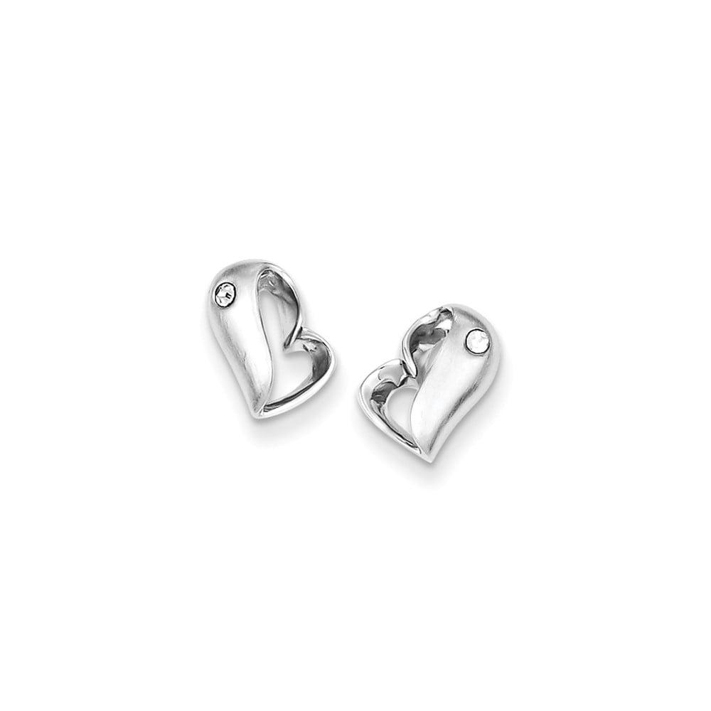 Sterling Silver Rhodium Plated CZ Heart Post Earrings (9.99MM Long x 7.9MM Wide)