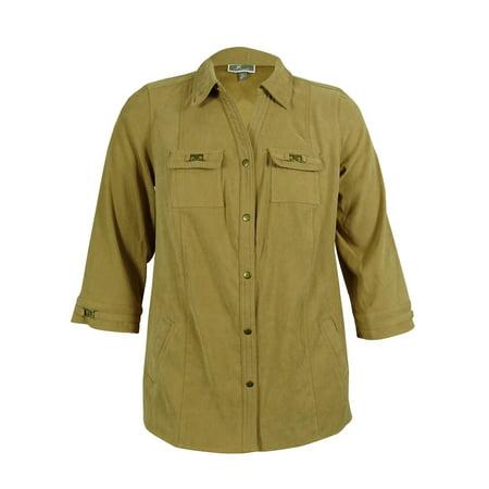 jm collection women's faux suede snap front jacket
