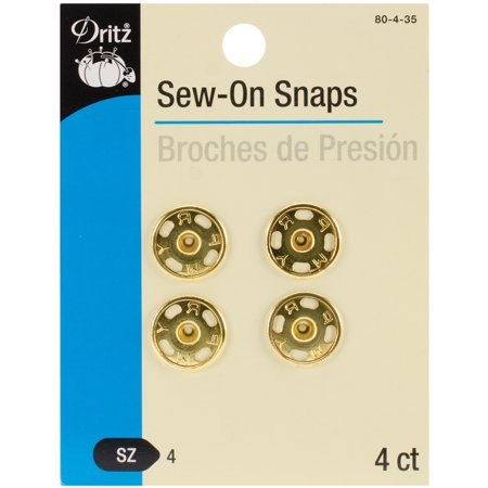 Dritz Sew On Snaps 4 Pkg Gold Size 4