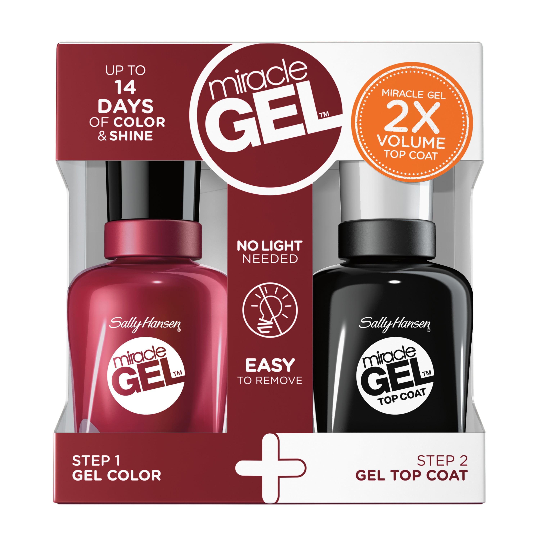 Sally Hansen Miracle Gel Nail Polish + Top Coat Duo Pack, Pink Cadillaquer