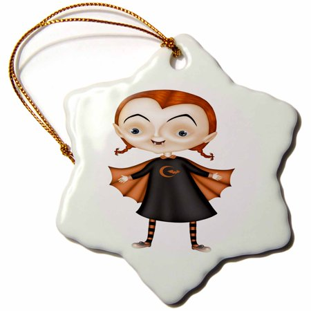 3dRose Cute Orange and Black Halloween Vampire Girl, Snowflake Ornament, Porcelain, 3-inch for $<!---->
