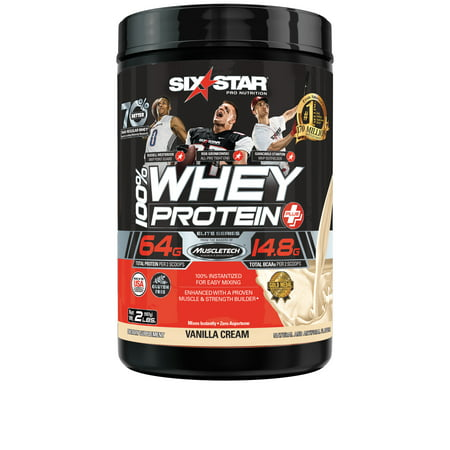 Six Star Pro Nutrition Elite Series 100% Whey Protein Powder, Vanilla Cream, 20g Protein, 2