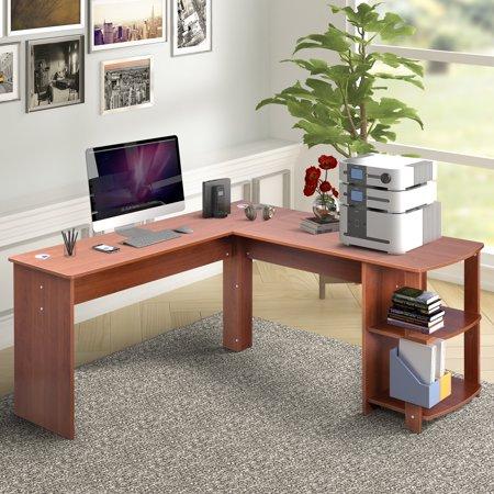 - Harper&Bright Designs L-Shaped Computer Desk with Side Storage,Light Brown
