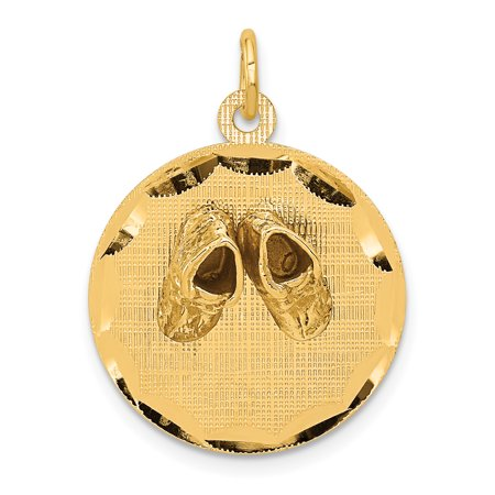 14k Yellow Gold Small Solid Engravable Baby Shoes On Disc Pendant Charm Necklace Fine Jewelry For Women Gift