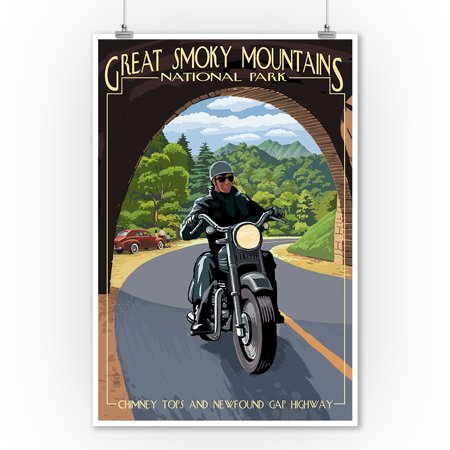 Motorcycle & Tunnel - Great Smoky Mountains National Park, TN - Lantern Press Poster (9x12 Art Print, Wall Decor Travel