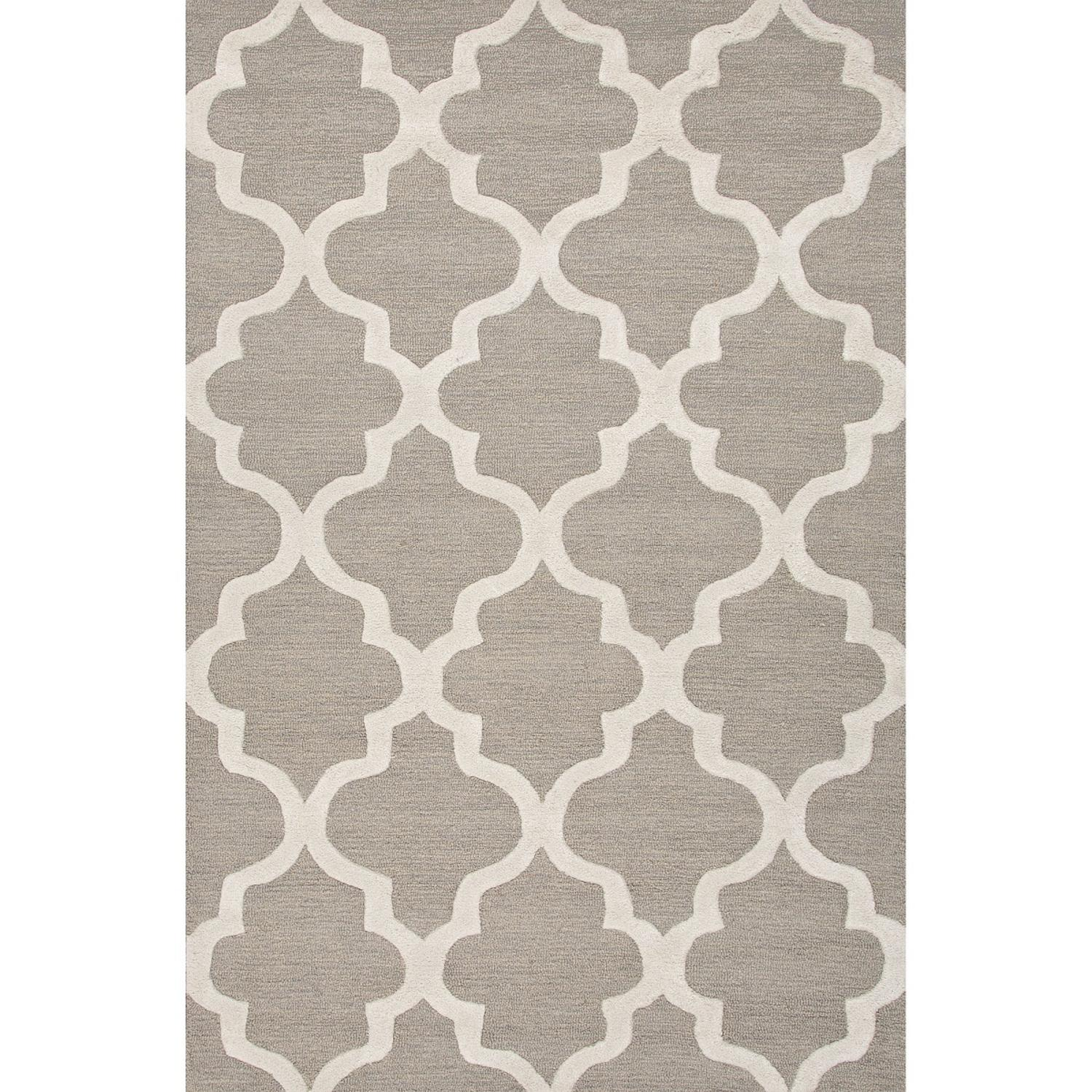 2' x 3' Stone Gray and Snow White Modern Miami Hand Tufted Wool Area Throw Rug