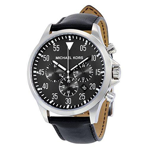 Michael Kors MK8442 Gage Chronograph Black Dial Black Leather Men's Watch