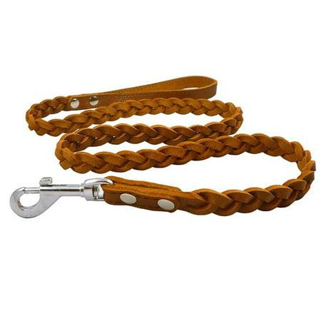 Genuine Fully Braided Leather Dog Leash 4 Ft Long 5/8