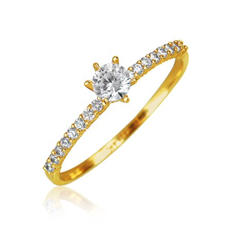 Pave Solitaire Ring (Minimalist Simple Real 14K Yellow Gold .25CT Round AAA CZ Solitaire Engagement Ring For Women Thin Pave Band)