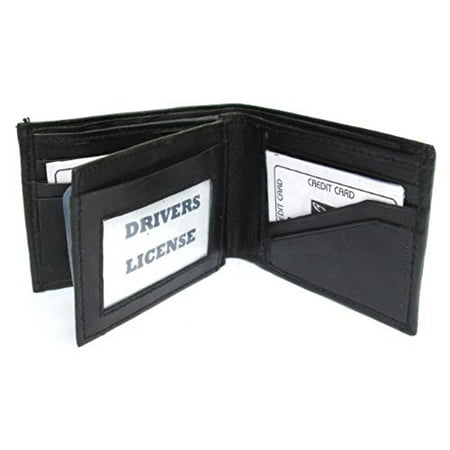 Mens Black Leather Bifold Zippered Billfold Wallet 793