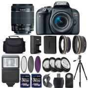 Canon EOS Rebel T7i 800D Digital SLR Camera + 18-55mm IS STM Lens + 2 X 32GB + 58mm Telephoto + Wide-Angle Lens + Filters + Flash + Case + Tripod