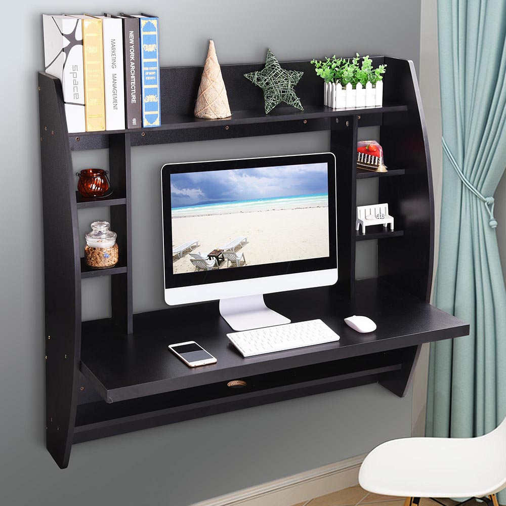 wall mounted home office. Yescom Wall Mounted Floating Computer Desk With Storage Shelves Laptop Home Office Furniture For Work Study O