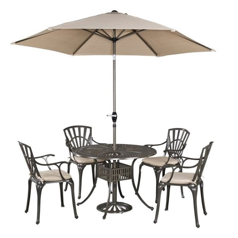 Hawthorne Collections 5 Piece Patio Dining Room Set and Cushions in Taupe by Hawthorne Collections