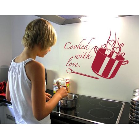 Beige Crackle Finish - Cooking with Love Wall Decal - kitchen Wall Sticker, Vinyl Wall Art, Home Decor, Wall Mural - 1963 - Beige, 16in x 11in