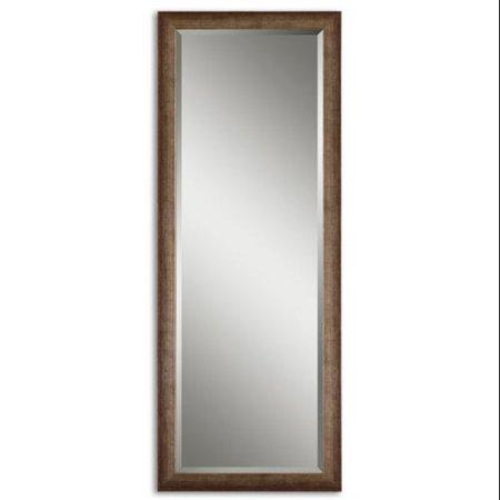 64 antiqued silver leaf wood framed beveled rectangular for Better homes and gardens baroque wall mirror black