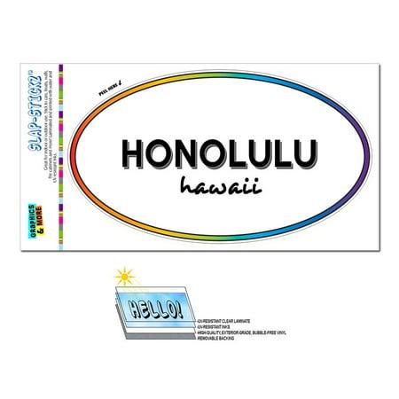 Honolulu, HI - Hawaii - Rainbow - City State - Oval Laminated Sticker for $<!---->