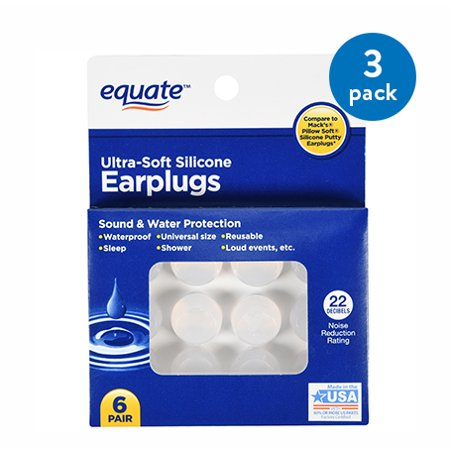Core 3 Pair Pack - (3 Pack) Equate Ultra-Soft Silicone Earplugs, 6 Pair