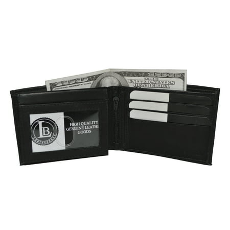 Men's Bifold Leather wallet with 2 zipper pockets
