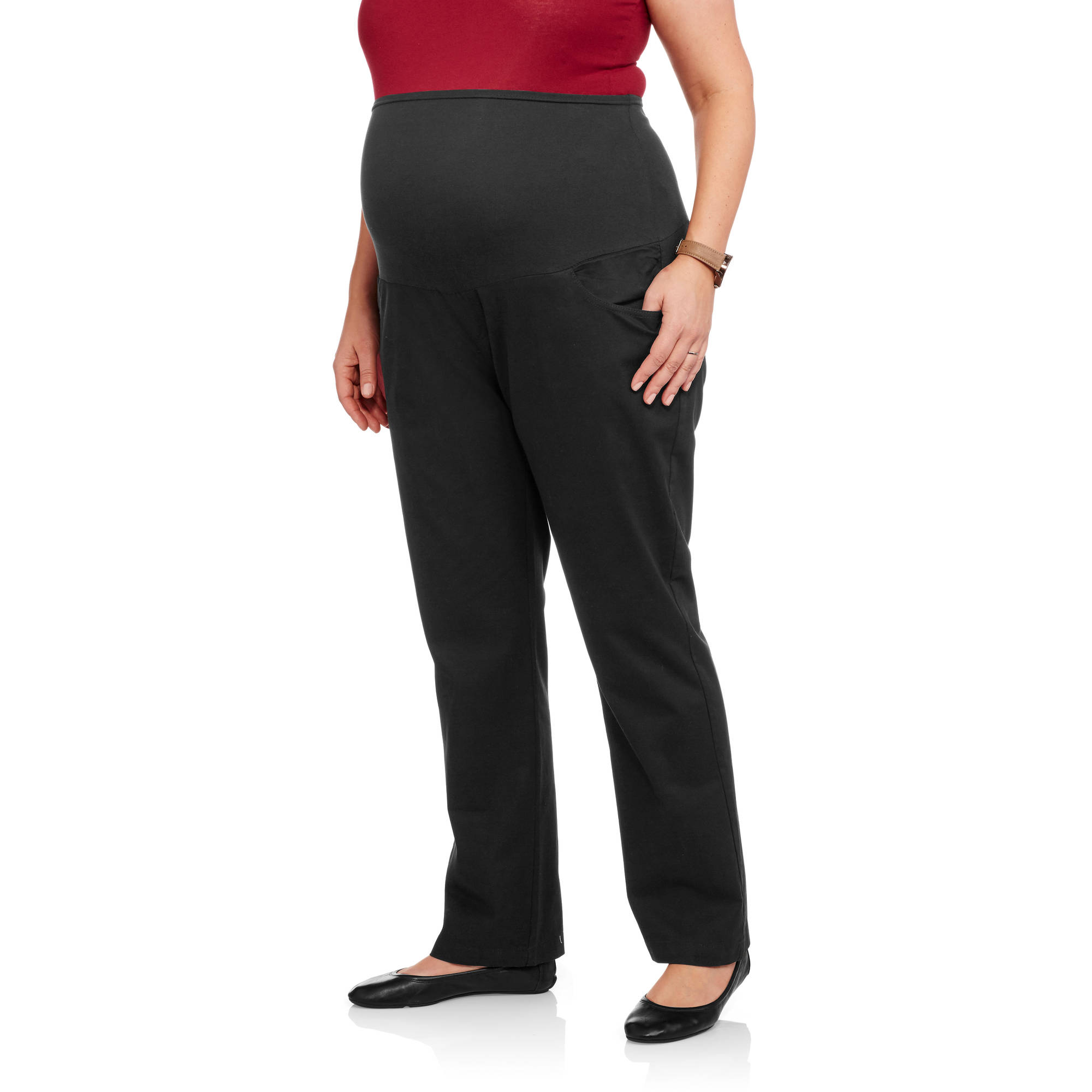 Oh! Mamma Maternity Plus-Size Full Panel Classic Stretch Twill Bootcut Career Pants