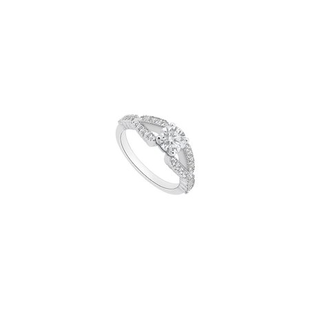 Cubic Zirconia Engagement Ring in 14K White Gold 1 Carat Total Gem Weight - image 2 de 2