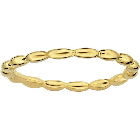 Sterling Silver Gold-Plated Rice Bead Ring