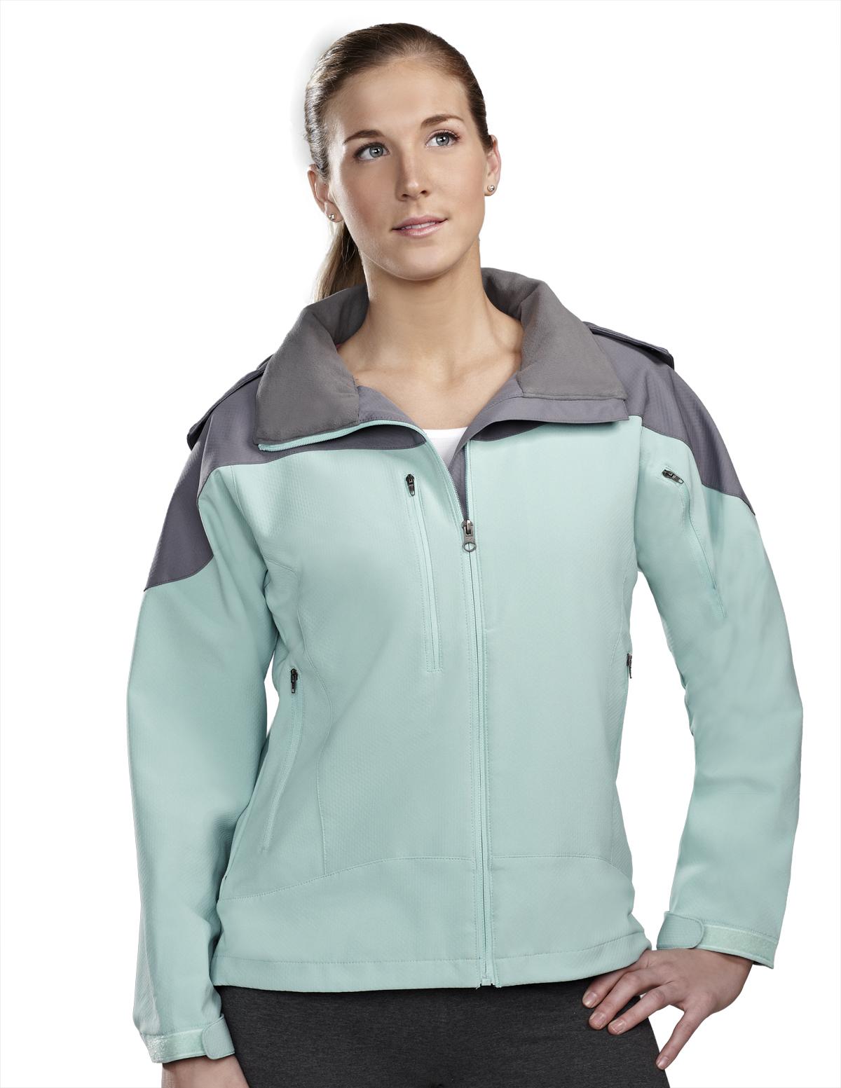 Tri-Mountain Portland 6320 Poly Stretch Bonded Hooded Jacket, 2X-Large, Aqua/Gray/Gray