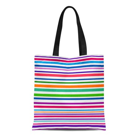 SIDONKU Canvas Tote Bag Colorful Striped Abstract Variable Width Stripes Rainbow Color Line Reusable Shoulder Grocery Shopping Bags Handbag