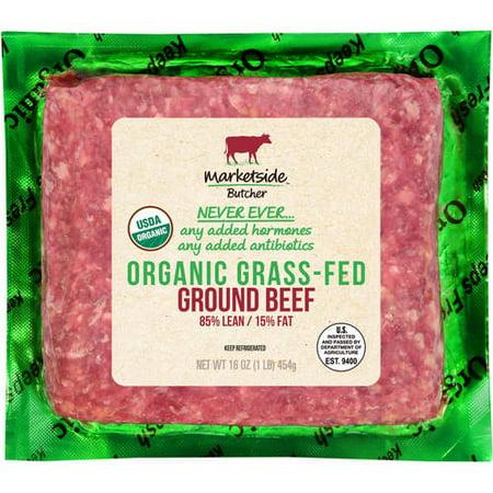 Marketside Organic Grass-Fed 85% Lean/15% Fat, Ground Beef, 1 lb
