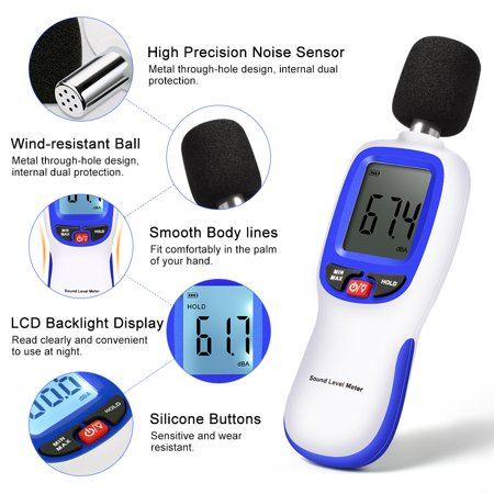 HERCHR Sound Level Meter, Portable Digital Decibel Meter Audio Noise Measurement 30-130dBA, MA,Sound Decibel Meter Reader, Decibel Monitoring Tester