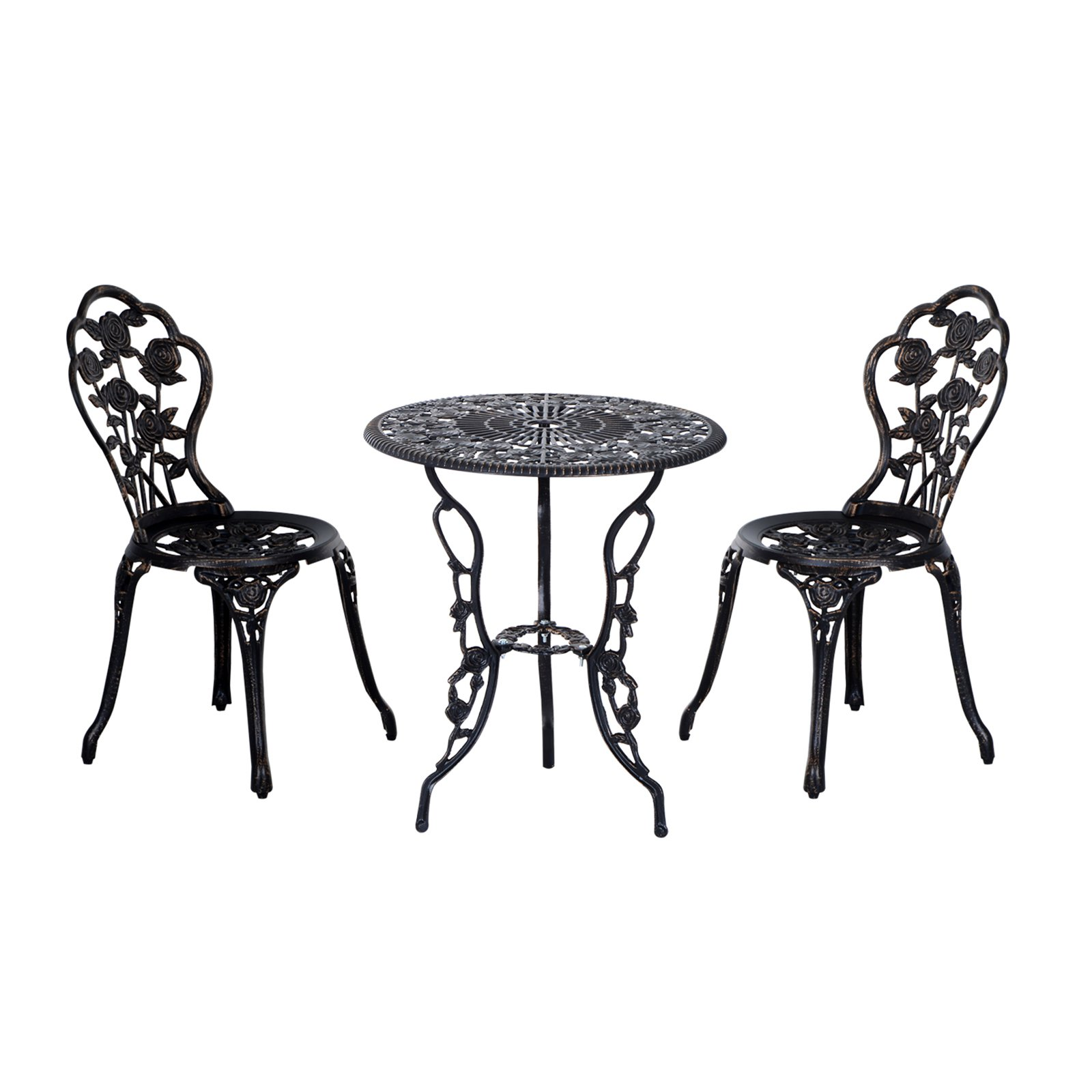 Outsunny Aluminum 3 Piece Decorative Back Roses Antique Style Patio Bistro Set
