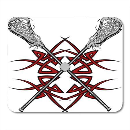 KDAGR Base Lacrosse Sticks and Ball with Tribal Borders Graphic Clipart Drawing Game Mousepad Mouse Pad Mouse Mat 9x10 inch