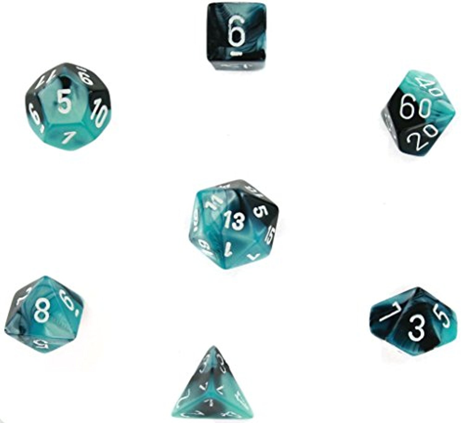 Cube Gemini Set Of 7 Dice Black Shell w/White Chessex Manufacturing CHX26446