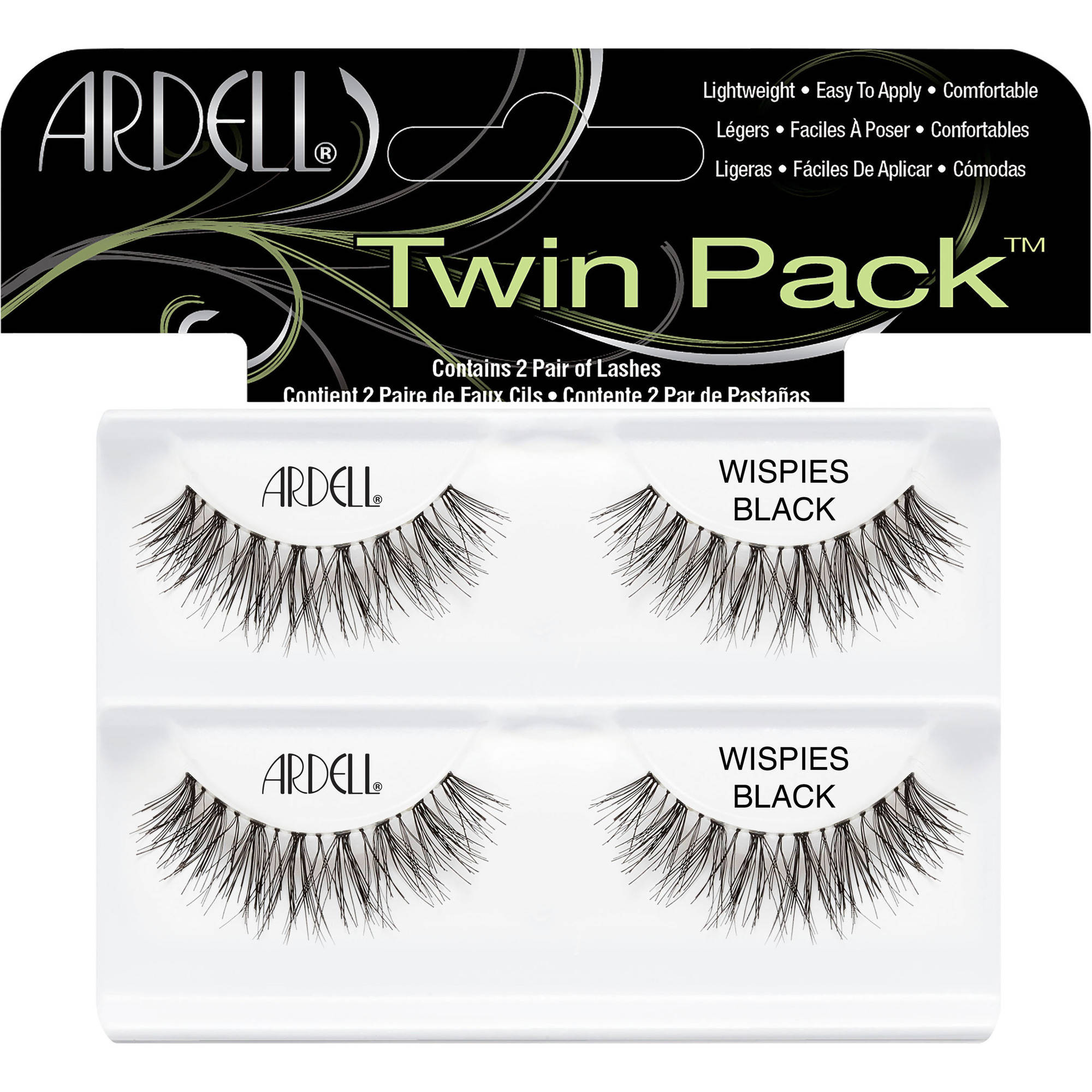 Ardell Twin Pack Wispies Lashes, Black, 2 pair