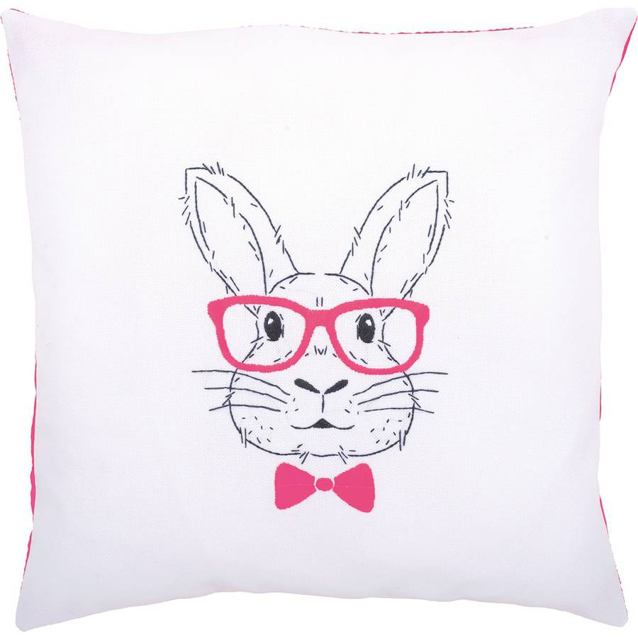 """Rabbit with Pink Glasses Cushion Stamped Embroidery Kit, 16"""" x 16"""""""