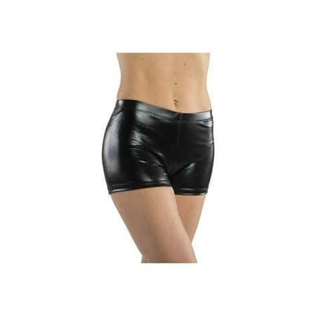 Danshuz Womens Black Solid Color Metallic Shine Nylon Spandex Booty Shorts S-XL