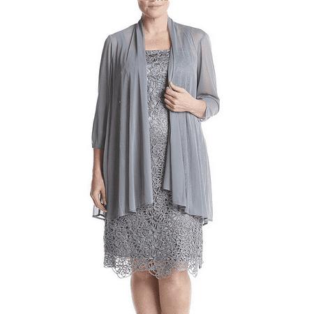 75f8174b2c7 The Dress Outlet - R M Richards Plus Size Silver Lace Jacket Formal Dress  Color  Silver