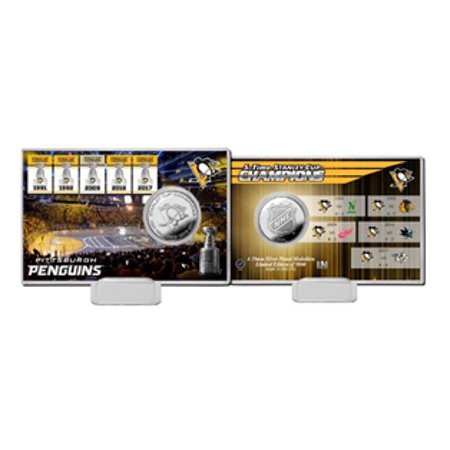Pittsburgh Penguins 5-Time Stanley Cup Champions Highland Mint Silver Coin -