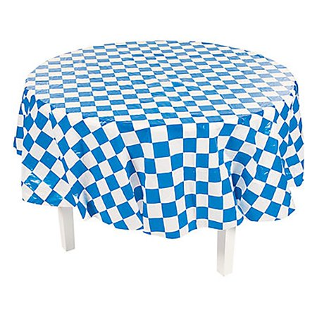 Blue and White Checkered Round - Checkered Table Covers