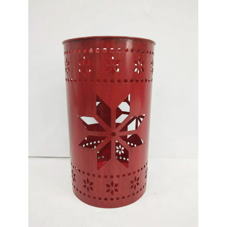 Holiday Time Galvanized Metal Star Luminaries Candle Holders, Red, Set of 10 ()