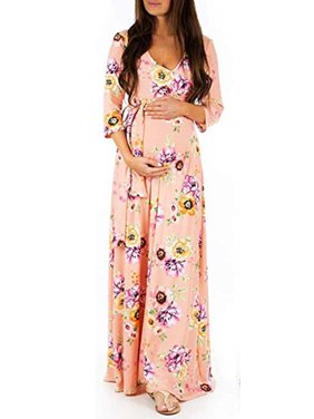 Womens Floral 3/4 Sleeve V Neck Maternity Maxi Dresses