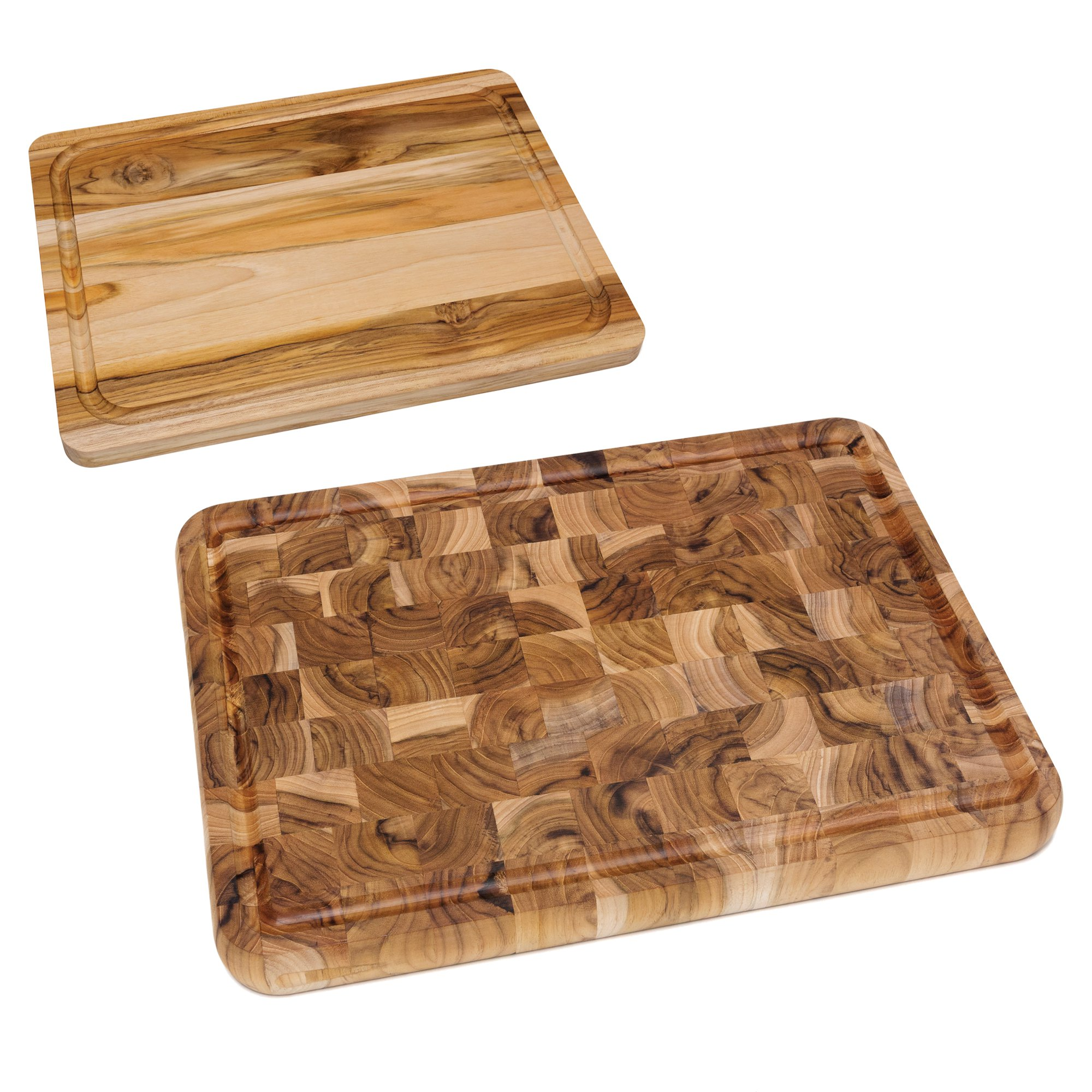 "Lipper Teak Edge Grain Wooden 16"" x 12"" Cutting Board & 16"" x 12"" Chopping Block"