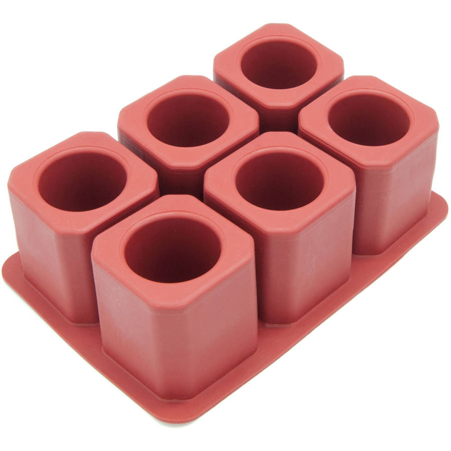 Freshware 6-Cavity Square Ice Shot Glass Silicone Mold, FI-107RD
