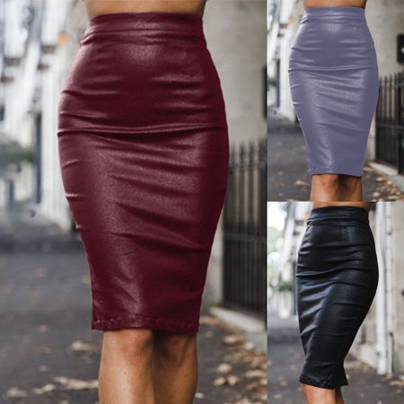 Aofa Women Sexy High Waist Back Slit Zipper Faux Leather Bodycon Midi Pencil Skirt - image 2 of 7